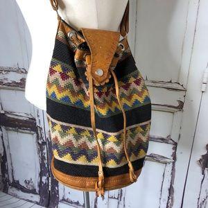 Vintage leather stitch crossbody purse drawstring
